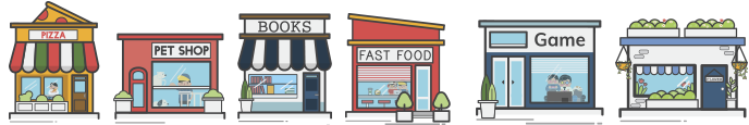 illustration of stores