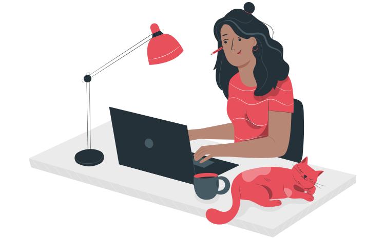 illustration of freelancer working
