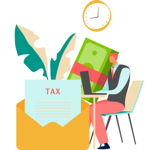 illustration of a person preparing taxes