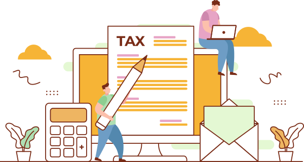 illustration of people working on taxes