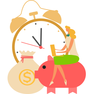 illustration of a person and a clock